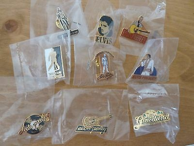 Lot de 9 pins collection ELVIS PRESLEY PINS RARE sous plastique The King Legend