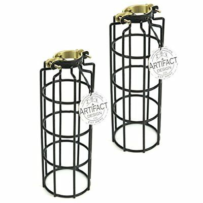 Set of 2 Industrial Vintage Style Metal Wire Cylinder Cage for Pendant Style Lam