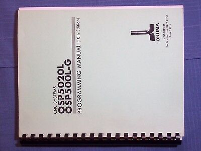 BOOK OKUMA LATHE CNC SYSTEMS OSP5020L OSP500L-G PROGRAMMING MANUAL 10th Ed. KPO-
