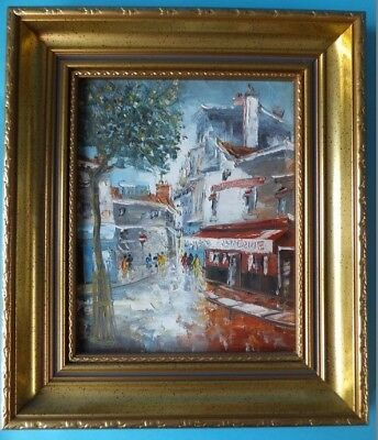 Original Signed Village Scene Oil Painting On Board in a Quality Gilt Frame.