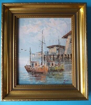 Original Signed Jones Fishing Boat Oil Painting On Board in Quality Gilt Frame.