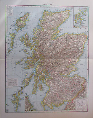 1893 Schottland, UK - 41x55 cm alte Karte old map