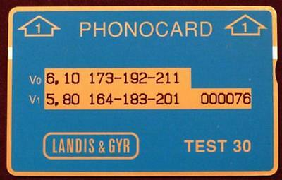 Test 30 Phonocard (Blue. Structure 1) Mint Phone Card