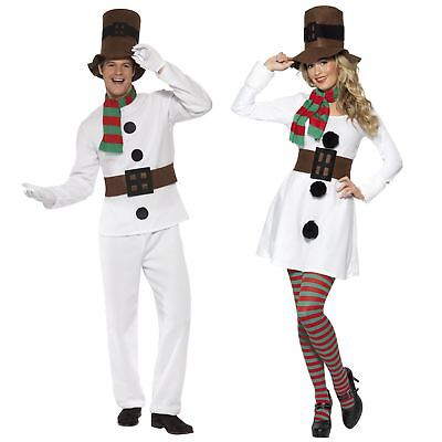 Mr Mrs Snowman Frosty Christmas Fancy Dress Costume Couple His Hers Party Outfit