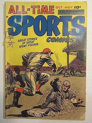 All-Time Sports Comics #7 Gd+ ~ Hillman 1949 ~  Great Baseball Cover!