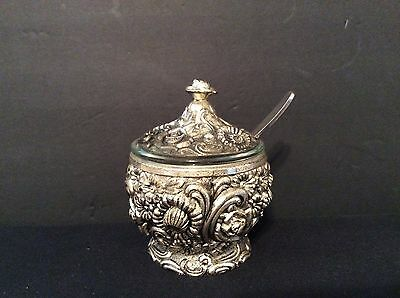 4 pc Vintage Ornate Floral Silverplate Sugar Bowl w/Glass insert, cover, & spoon
