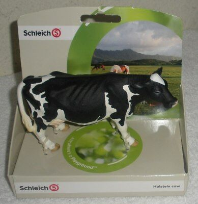 "NEW  13633 SCHLEICH 5.5"" HOLSTEIN COW Farm Animal Figure DAIRY BLACK & WHITE"