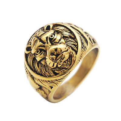 Men's Ring Size 7 - 13 Vintage Lion Head Rings Stainless Steel Gold Plated