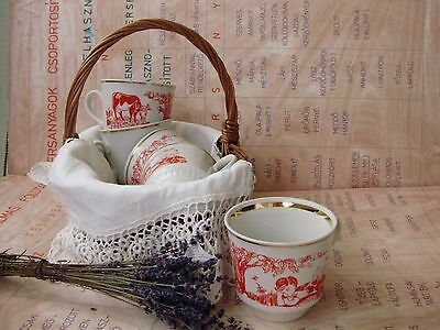 Vintage,russian Dulevo Tea Mug Set,boy With Moo-Cow Pattern