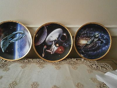 Preowned Startrek Plates Set Of 3 Numbered