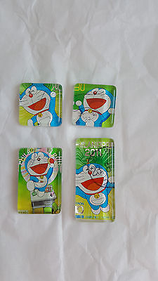 4 Doraemon Magnets Anime Magnets PHILANIPPON 2011 Japanese Stamps Anime Magnets