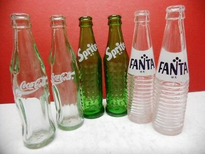 "Mixed Set Of 6 Mini (3-1/8"") Coca-Cola Product Glass Bottles-Coke/sprite/fanta"
