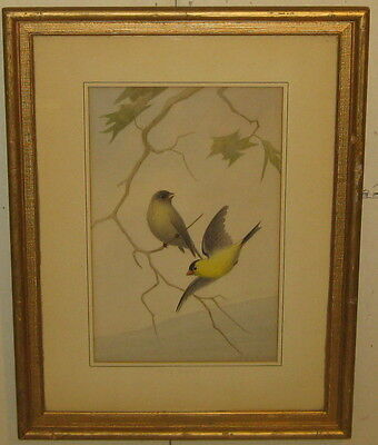Vintage Original BRUNO ERTZ 'Wild CANARYS' Bird PAINTING - Listed NATURE Artist