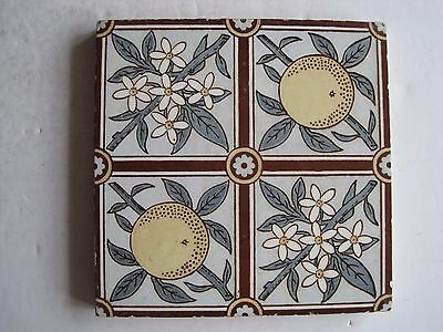 ANTIQUE VICTORIAN MINTONS TRANSFER PRINT TILE - ORANGES AND BLOSSOM c1885
