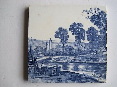 ANTIQUE VICTORIAN MINTONS BLUE & WHITE TRANSFER TILE - No.2475 BOAT ON BANK