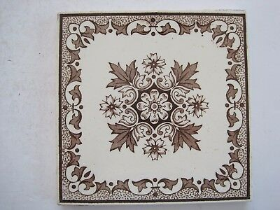 ANTIQUE VICTORIAN WALL TILE BROWN TRANSFER PATTERN No. 431 - SHERWIN & COTTON
