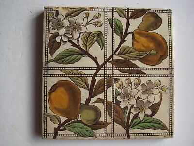Antique Victorian T & R Boote Transfer Print & Tint Wall Tile - Pears / Quinces