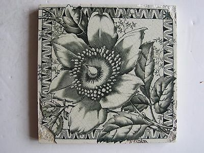 Antique Victorian J.h.barratt Green Floral Transfer Print Tile C1897