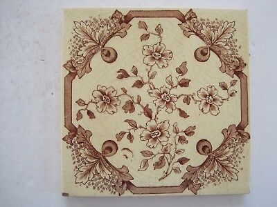 Antique Victorian Wall Tile Brown Floral Transfer On Cream Background