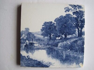 ANTIQUE VICTORIAN MINTONS BLUE & WHITE TRANSFER TILE - No.2475 BOAT ON RIVER