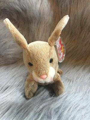 Nibbly the Rabbit Ty Beanie Baby Rare 4 ERRORS Tags and tag protector May 7 1998