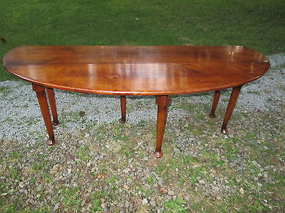 Antique Queen Anne Burl Dropside Leaf Oval Coffee Table Pad Foot Large Long 19Th