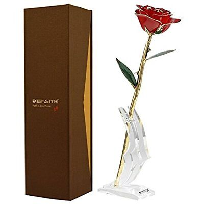 Red Gold Rose 24K Trimmed Long Stem Real with Moon-shape Stand Best Modern Gift