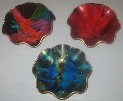 3 PIECE Lot REDS Blues GREENS Multi COLORED Vintage SEETUSEE Art GLASS Dishes