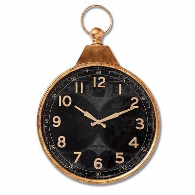 Large Black & Gold Pocket Watch Wall Clock - Vintage Antiqued Map Design 82cm