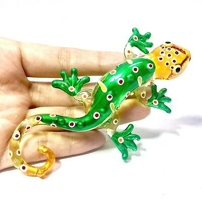 Miniature Blown Glass Green Gekko Statue Animal Figurine Collectibles Decor New