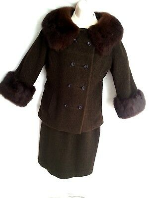 Milady NY Brown Boucle Jacket Skirt Women Winter Suit w/ Real Fur Collar Cuffs