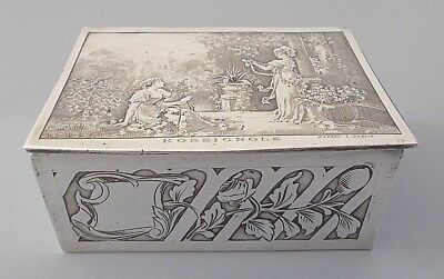 Antique / vintage art nouveau style French silver plate jewellery box