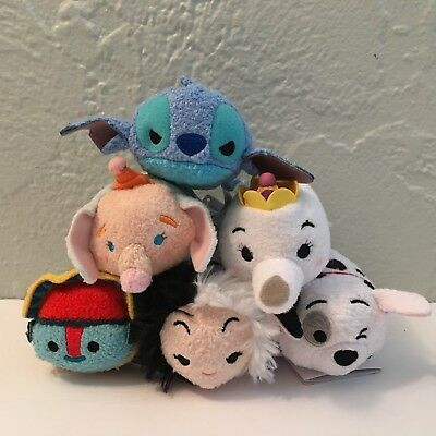 NWT Disney TSUM TSUM Assorted Lot of 6 Mini Plush STITCH CRUELLA TIKI DUMBO