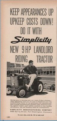 1964 SIMPLICITY Landlord Riding Tractor Garden Lawn Mower Port Washington WI Ad