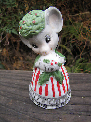 Vintage Jasco Christmas Mouse Bisque Porcelain Bell 1970's Collectible