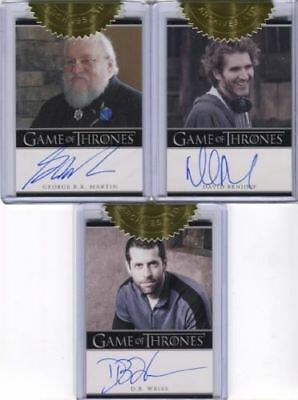 Game of Thrones Season Two Incentive Martin Benioff Weiss Autograph Card Lot