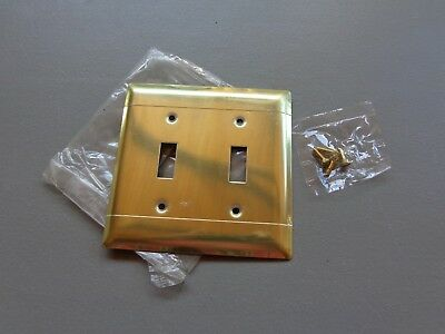 Vintage NOS P & S Shiny Brass Double Light Switch Cover Plate w/Screws