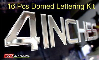 "Domed 4"" Lettering & Numbers Boat Registration Set 16 pcs Raised Decal Chrome"