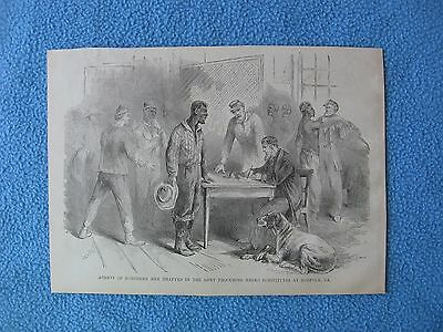 1884 Civil War Print- Agents of Northern Men Drafted Procuring Negro Substitutes