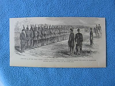 """1884 Civil War Print - Company A of 1st S.C. """"Colored"""" Federal Vol. Taking Oaths"""