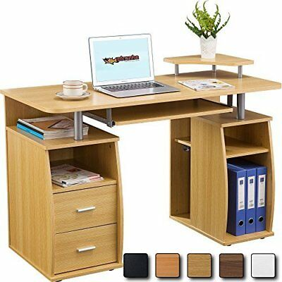 Computer Desk Cupboard Storage Cabinet Pedestal Printer Stationary Drawers OAK