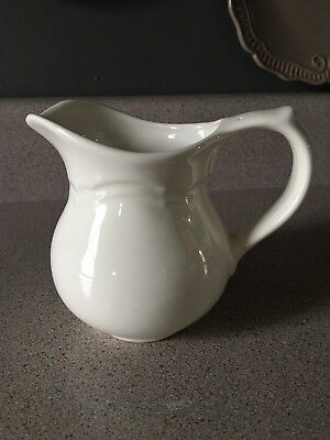 VINTAGE Antique White Stoneware Small MILK PITCHER Creamer Farmhouse Decor