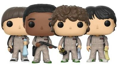 SET of 4 STRANGER THINGS GHOSTBUSTER Mike Will Dustin Lucas FUNKO POP