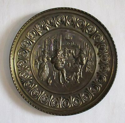 "Vintage Brass Wall Hanging Plate - Pub Scene.  Made in England.  12"" Diameter."