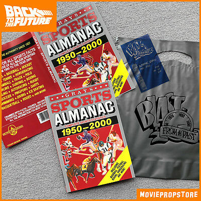 Grays SPORTS ALMANAC PROP from BACK TO THE FUTURE - with bill & bag
