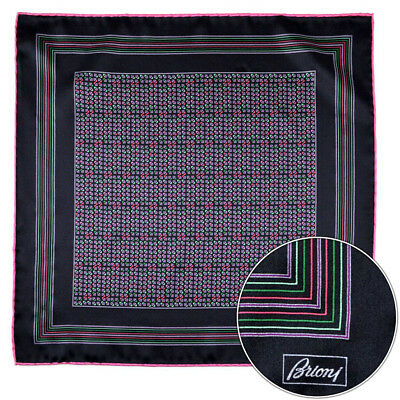Men's BRIONI Black Pink Green Silk Hand Made Rolled Pocket Square Handkerchief