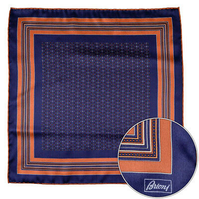 Men's BRIONI Brown Geometric Silk Hand Rolled Pocket Square Handkerchief Hanky