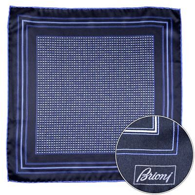 Men's BRIONI Navy Blue Silk Fine Woven Hand Rolled Pocket Square Handkerchief