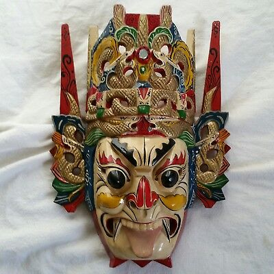 Chinese Folk Art Wood Hand Carved Painted NUO MASK Crown Tongue Out 14x11