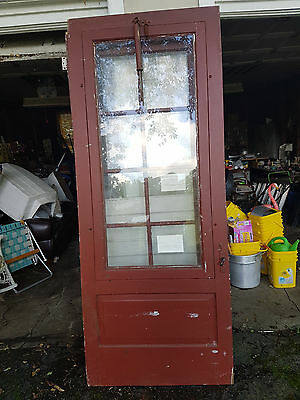 Vtg Glass & Solid Wood Exterior Storm Door w/Hardware Architect Salvage 112 y/o